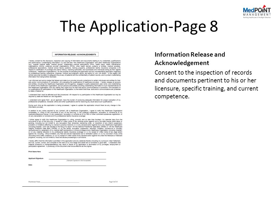 The Application-Page 8 Information Release and Acknowledgement
