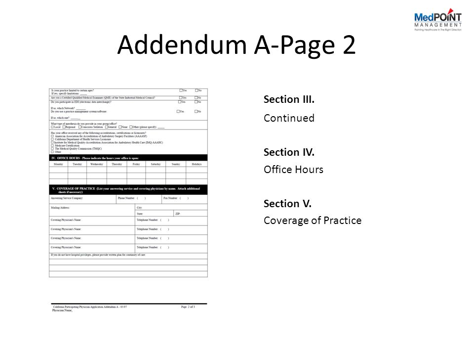 Addendum A-Page 2 Section III. Continued Section IV. Office Hours