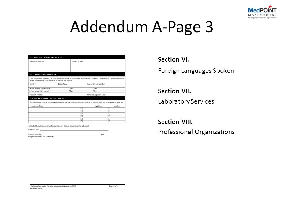 Addendum A-Page 3 Section VI. Foreign Languages Spoken Section VII.
