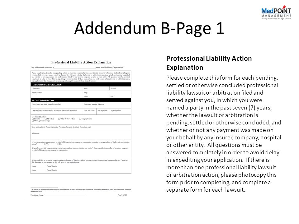 Addendum B-Page 1 Professional Liability Action Explanation
