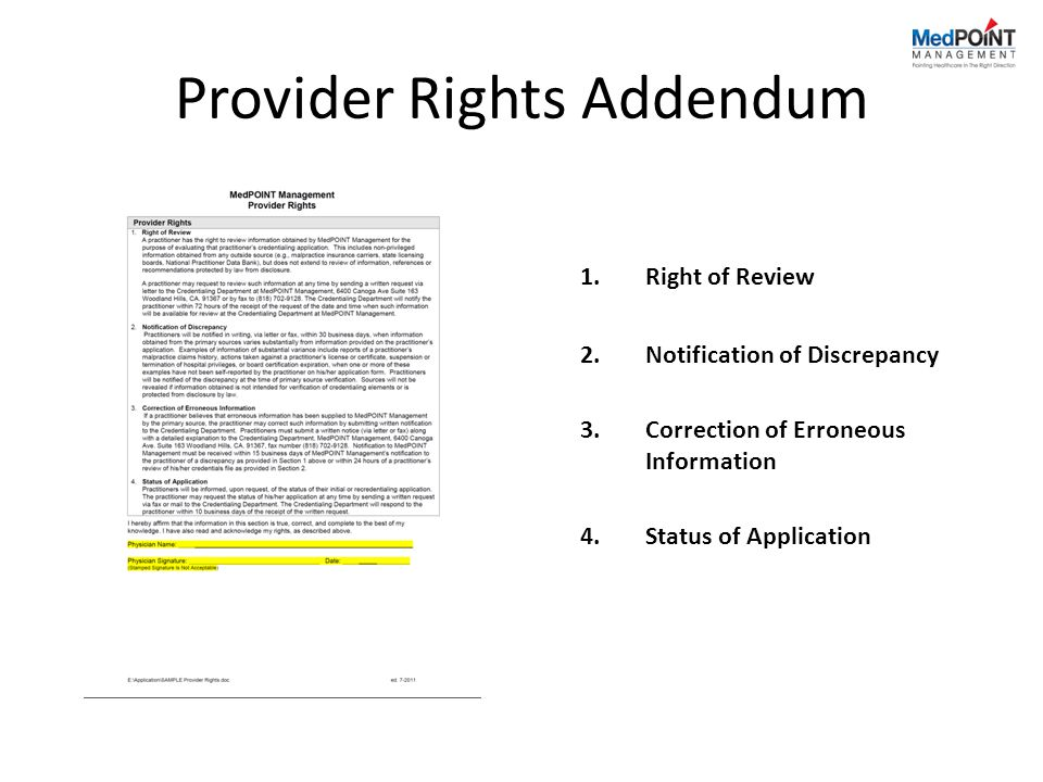 Provider Rights Addendum