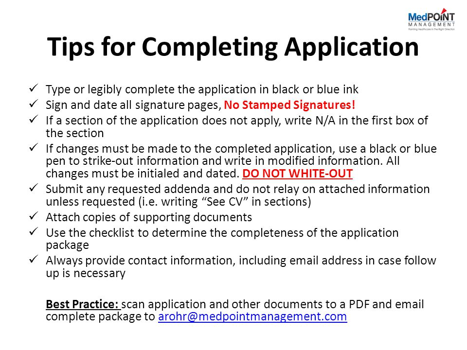 Tips for Completing Application