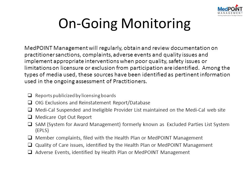On-Going Monitoring