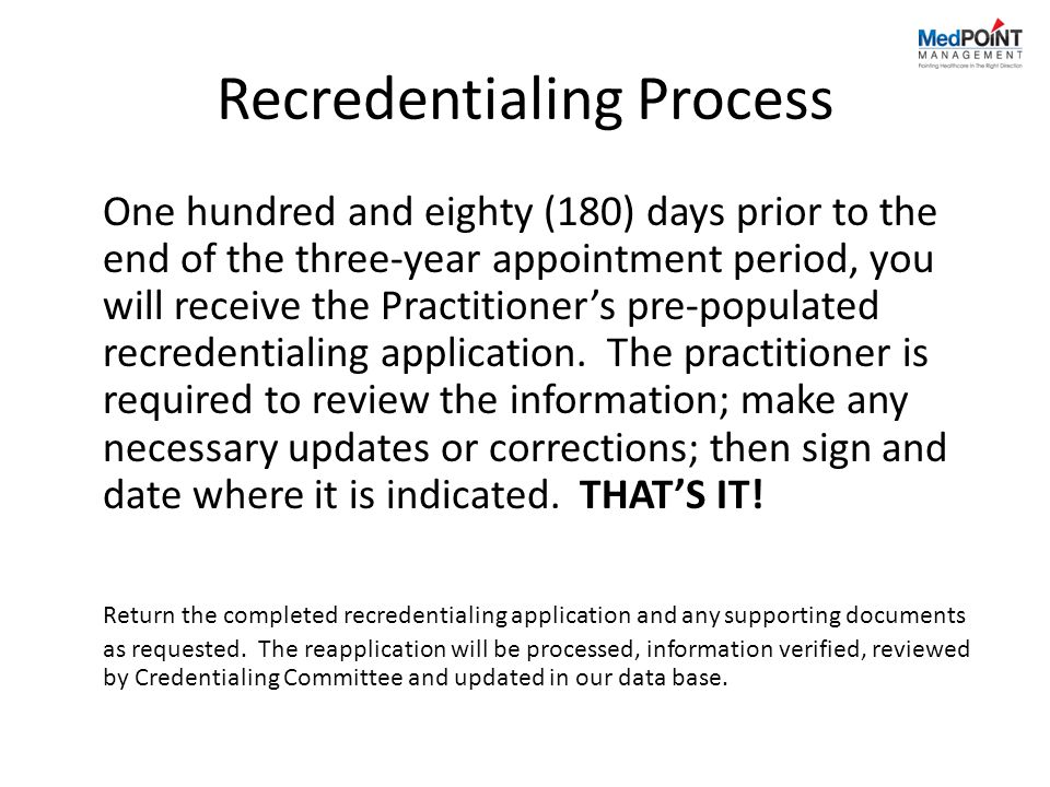 Recredentialing Process