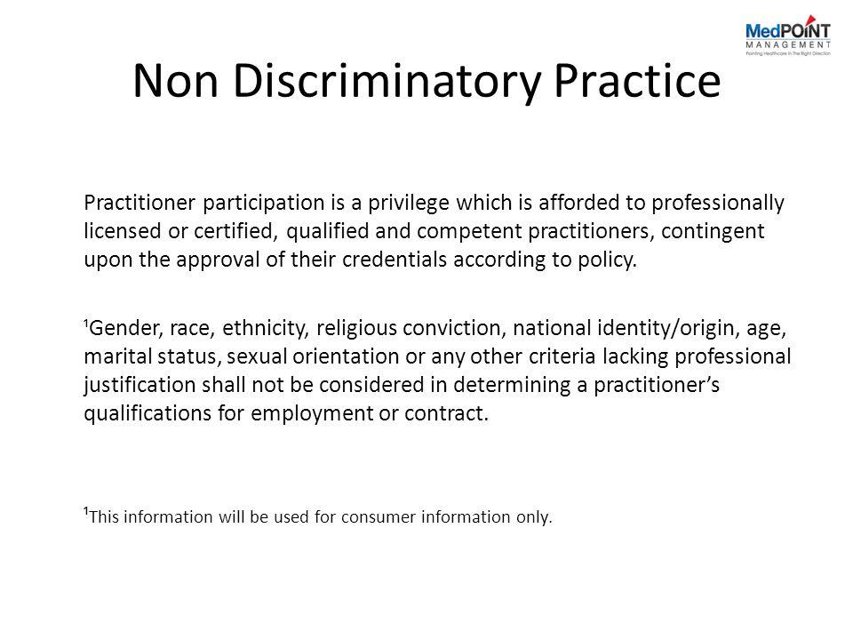 Non Discriminatory Practice
