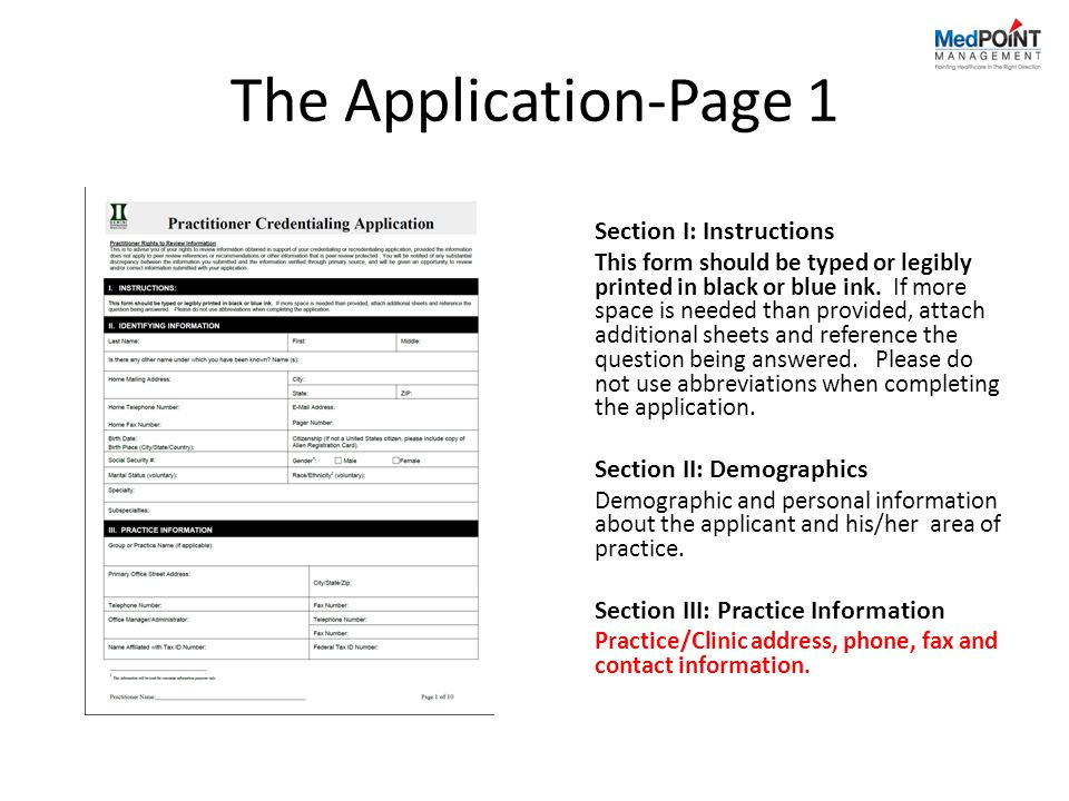 The Application-Page 1 Section I: Instructions