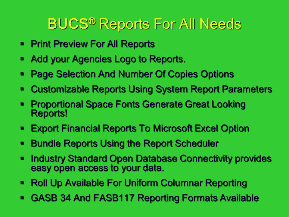 BUCS® Reports For All Needs