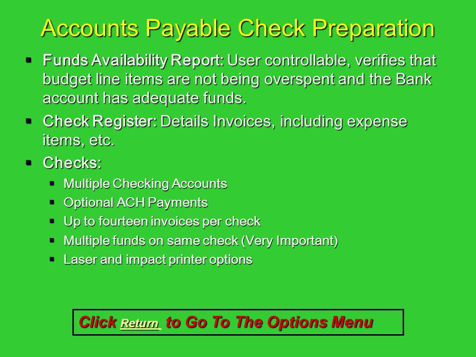 Accounts Payable Check Preparation