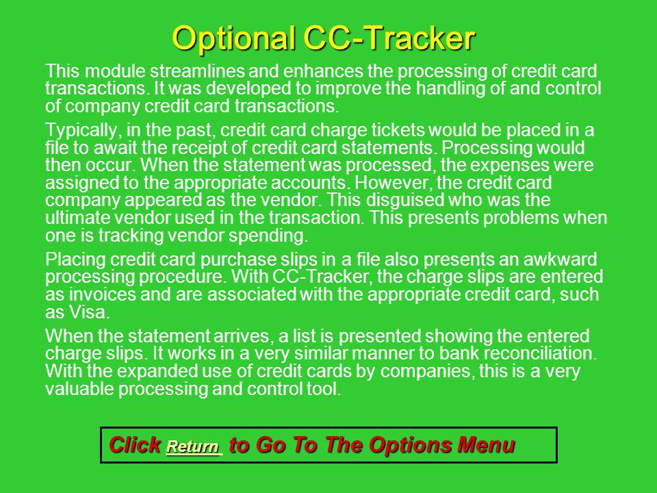 Optional CC-Tracker Click Return to Go To The Options Menu