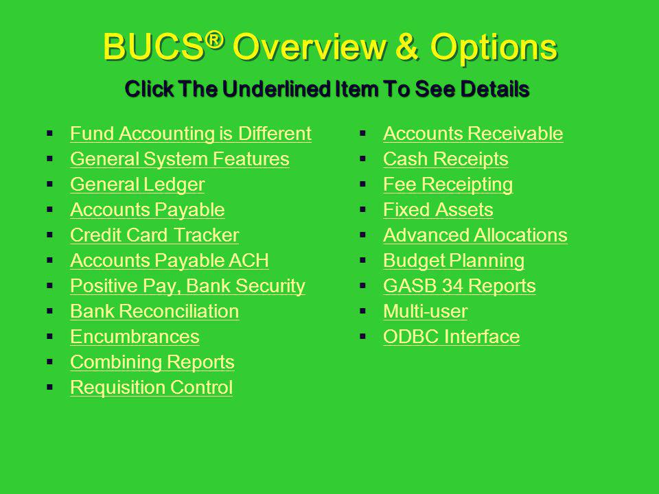 BUCS® Overview & Options