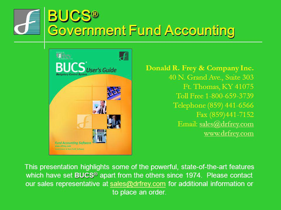 BUCS® Government Fund Accounting
