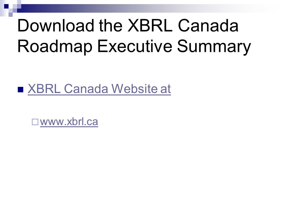 Download the XBRL Canada Roadmap Executive Summary