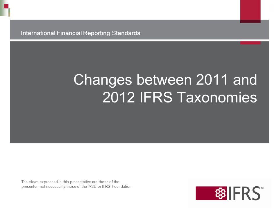 Changes between 2011 and 2012 IFRS Taxonomies