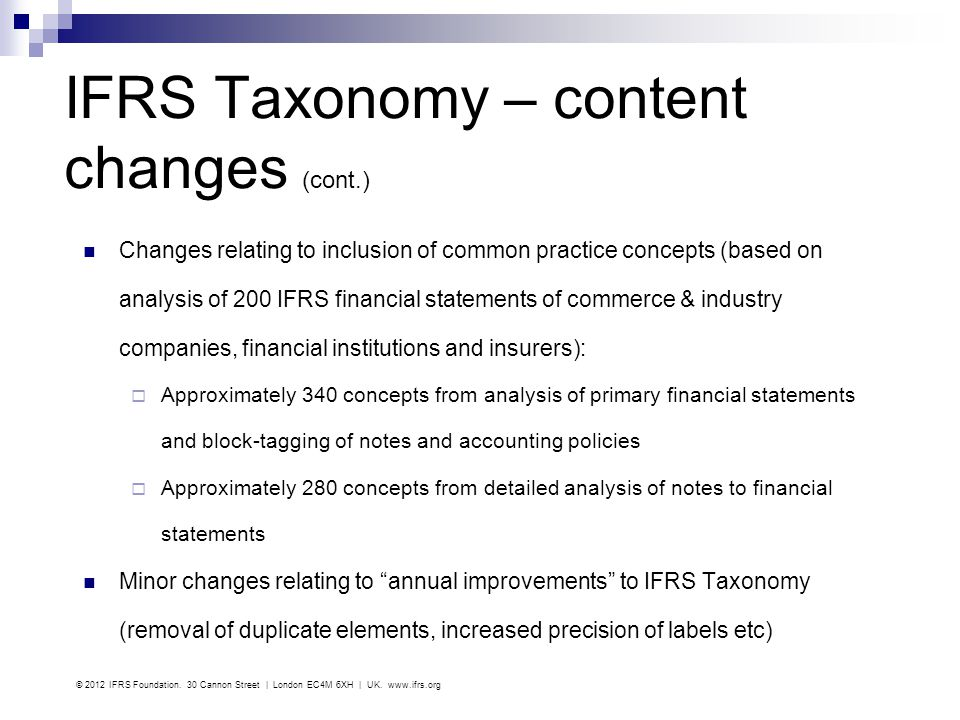 IFRS Taxonomy – content changes (cont.)