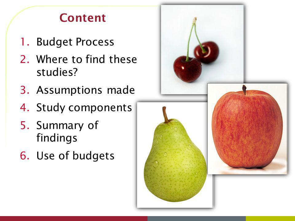 Content Budget Process Where to find these studies Assumptions made