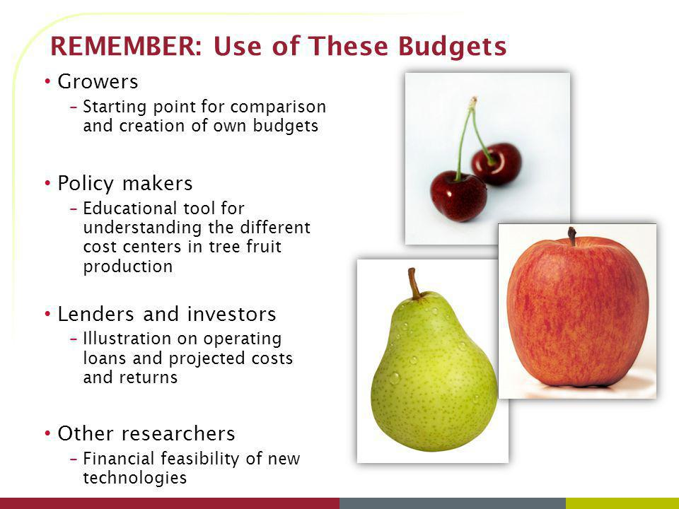 REMEMBER: Use of These Budgets