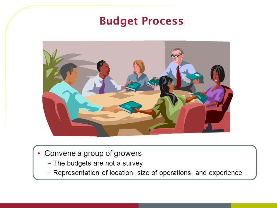 Budget Process Convene a group of growers The budgets are not a survey