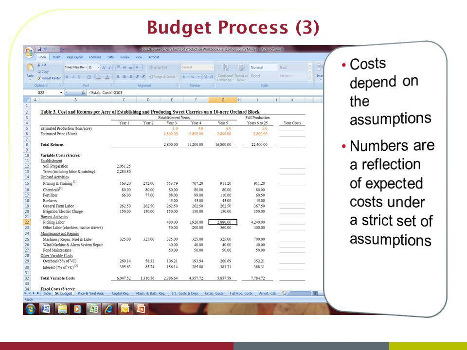 Budget Process (3) Costs depend on the assumptions