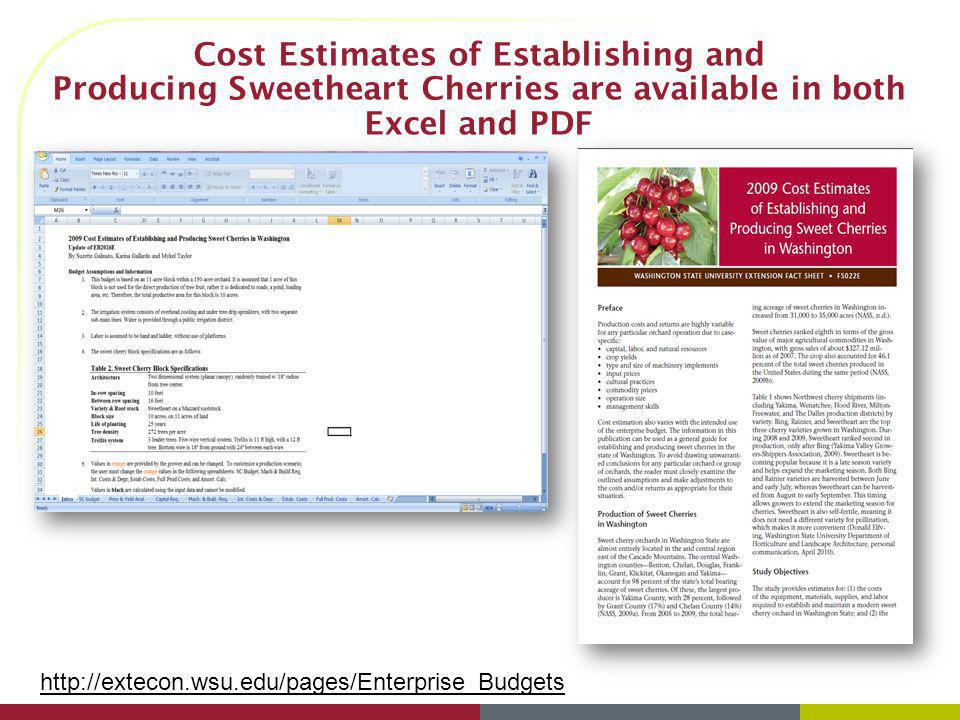 Cost Estimates of Establishing and Producing Sweetheart Cherries are available in both Excel and PDF