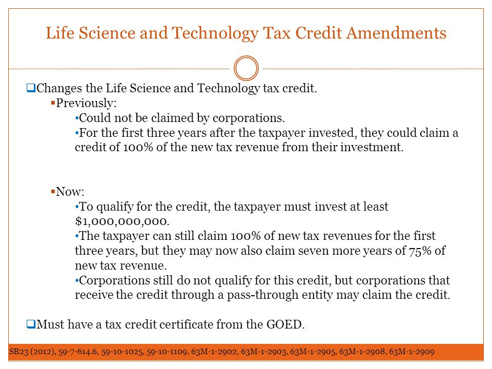 Life Science and Technology Tax Credit Amendments