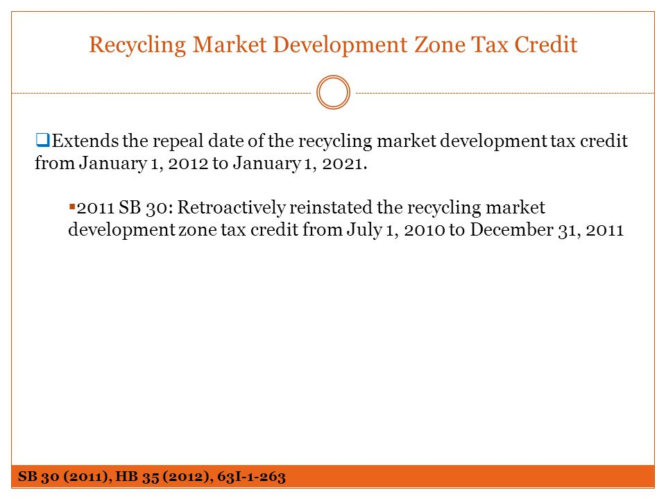 Recycling Market Development Zone Tax Credit