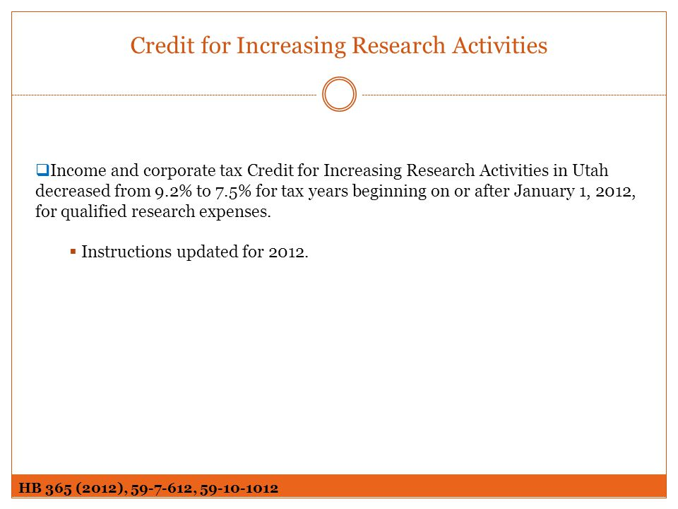 Credit for Increasing Research Activities