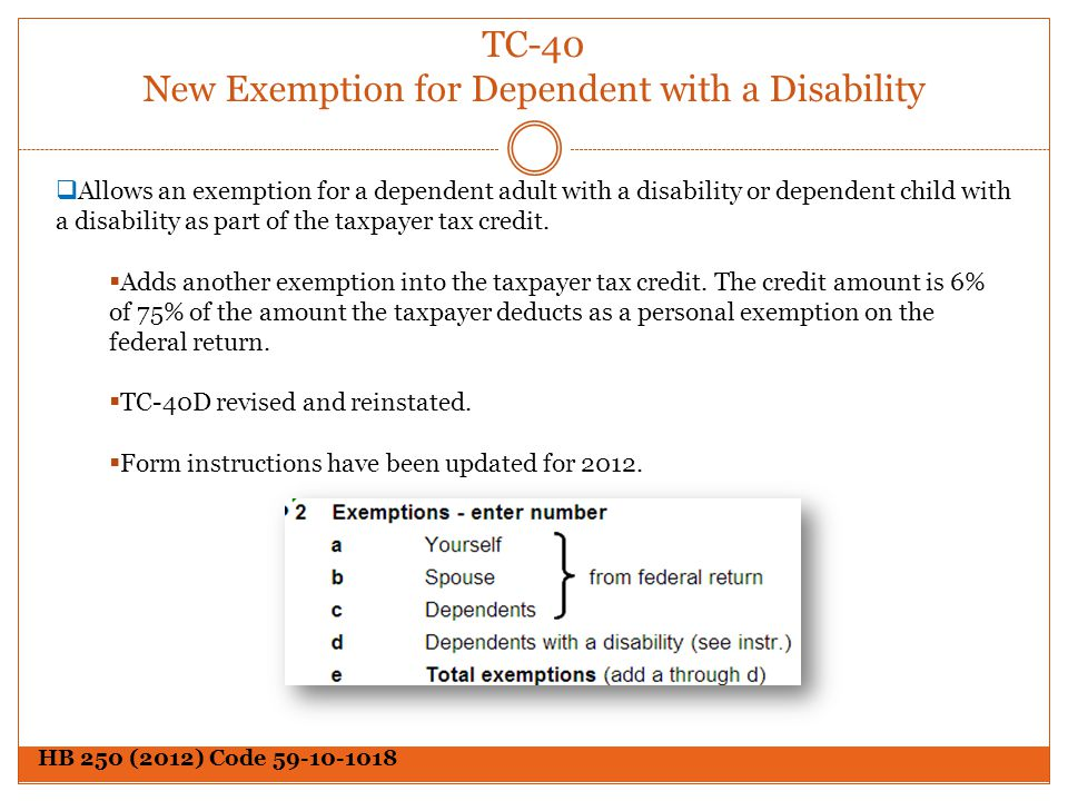 TC-40 New Exemption for Dependent with a Disability