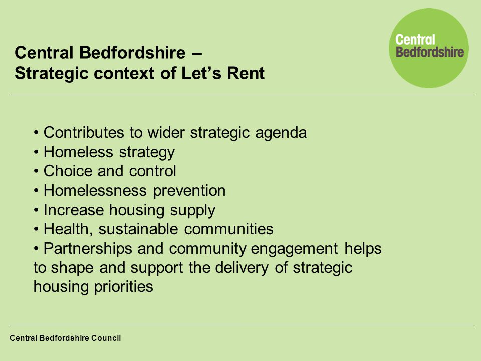 Central Bedfordshire – Strategic context of Let's Rent