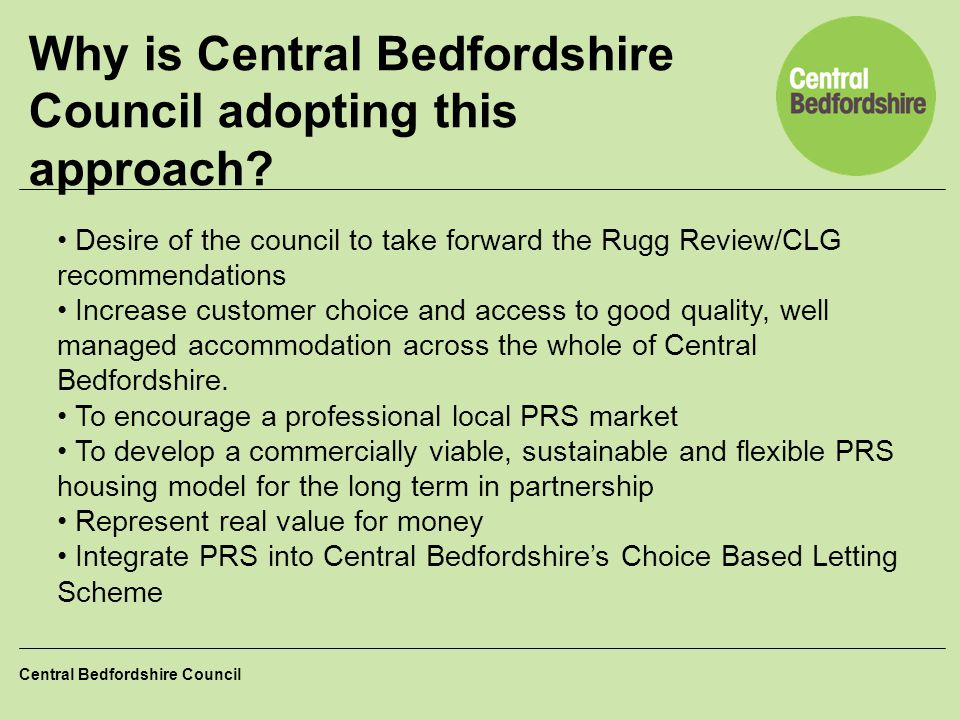 Why is Central Bedfordshire Council adopting this approach