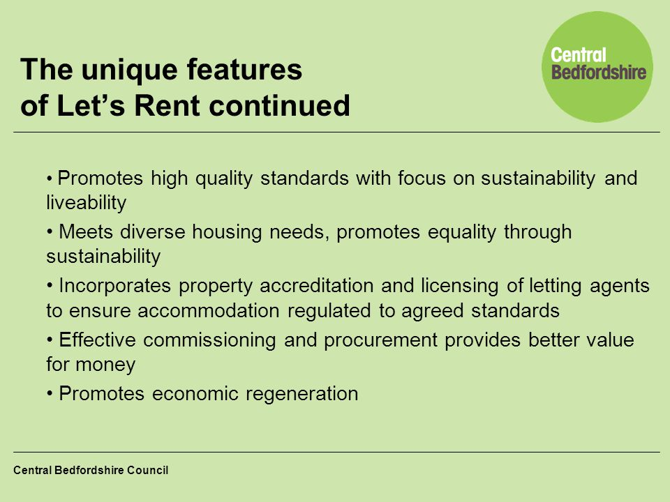 The unique features of Let's Rent continued