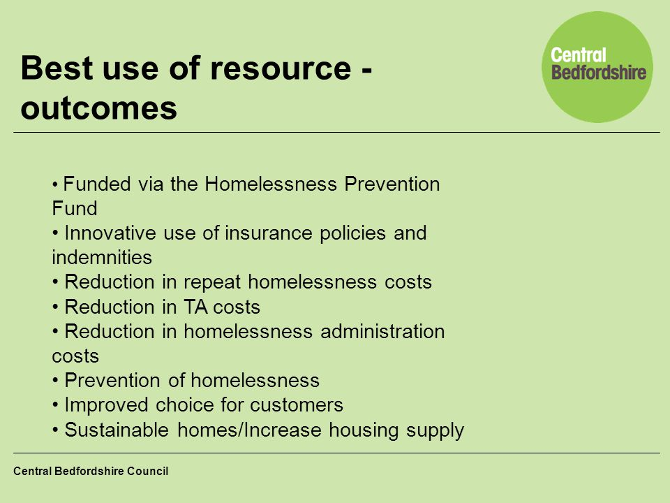 Best use of resource - outcomes