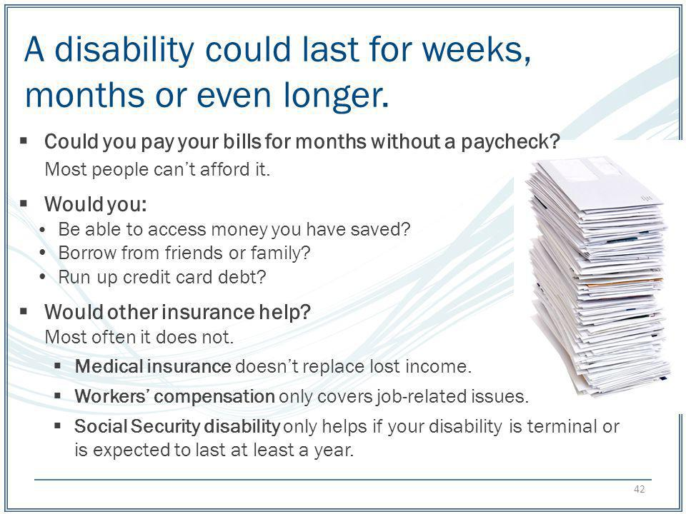 A disability could last for weeks, months or even longer.