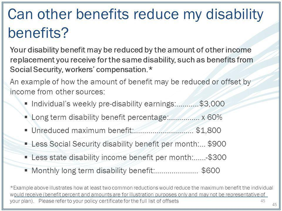 Can other benefits reduce my disability benefits