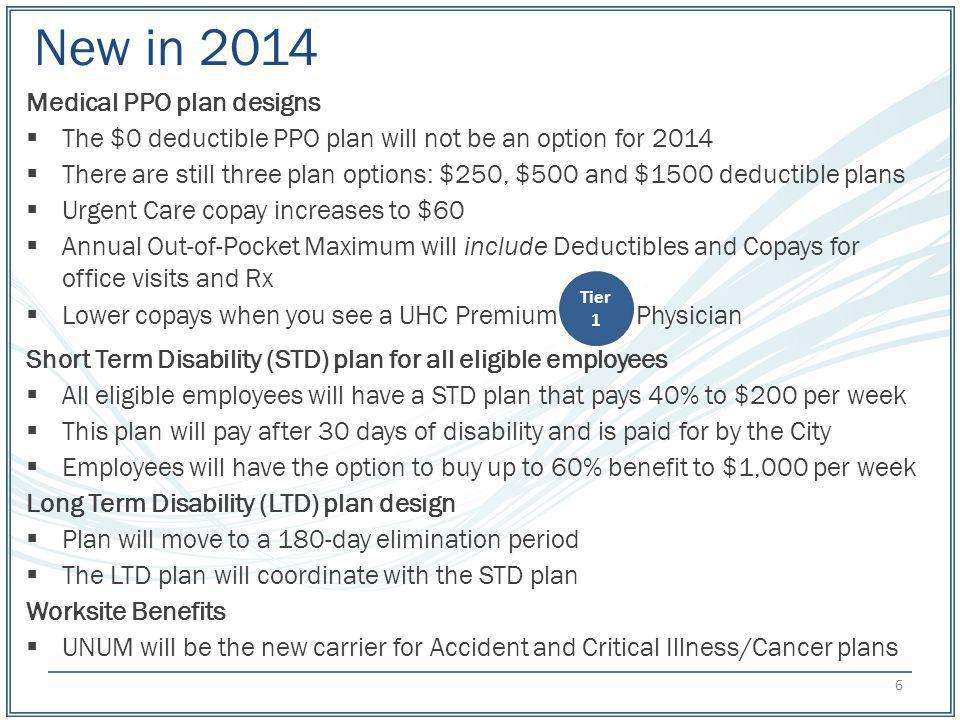 New in 2014 Medical PPO plan designs