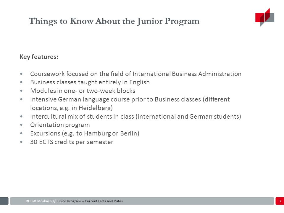 Things to Know About the Junior Program