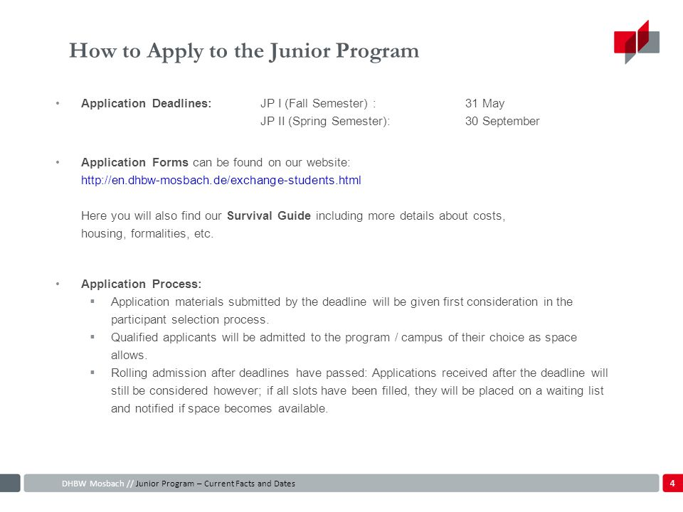 How to Apply to the Junior Program