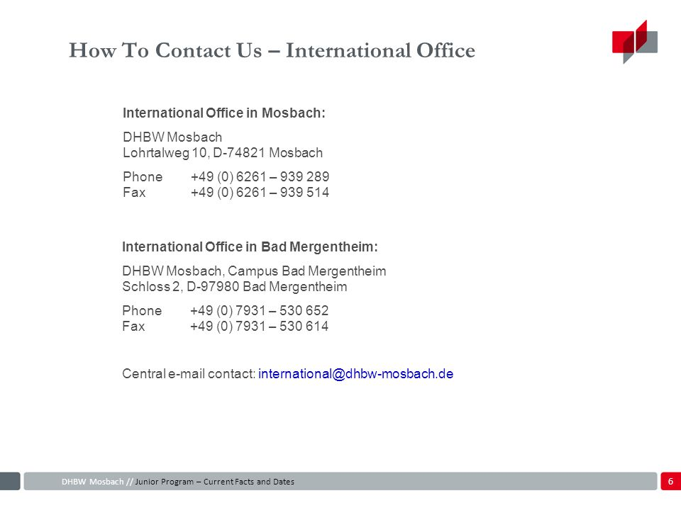 How To Contact Us – International Office