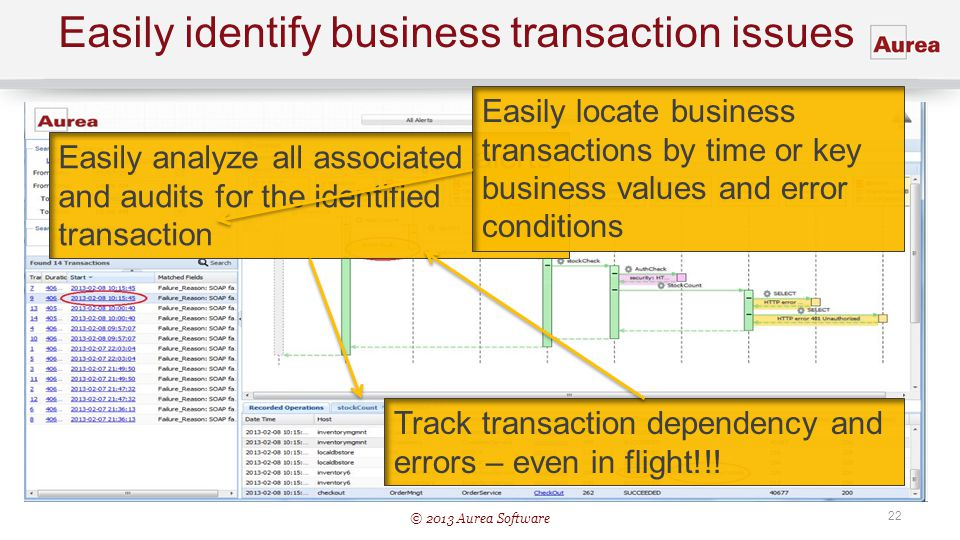 Easily identify business transaction issues
