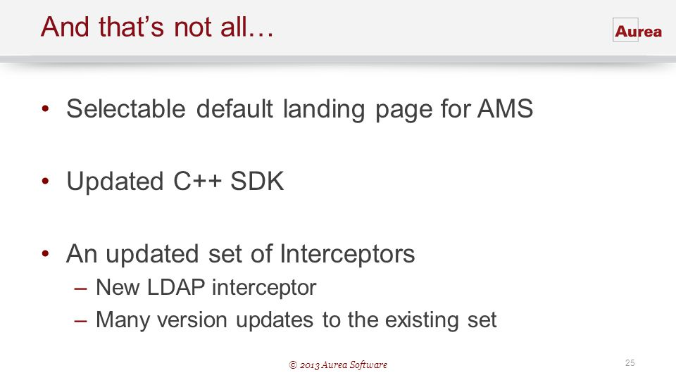 And that's not all… Selectable default landing page for AMS
