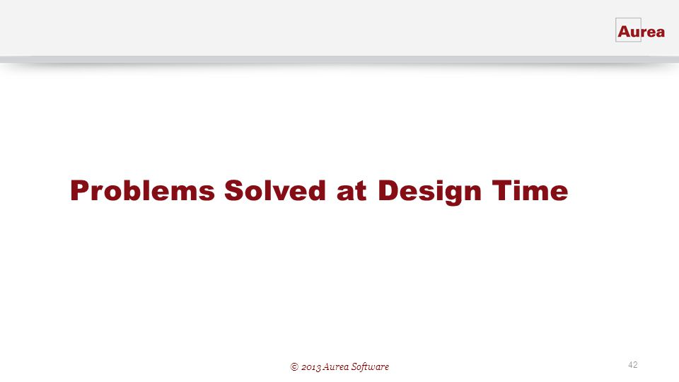 Problems Solved at Design Time