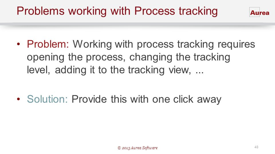 Problems working with Process tracking