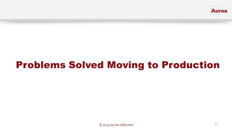 Problems Solved Moving to Production