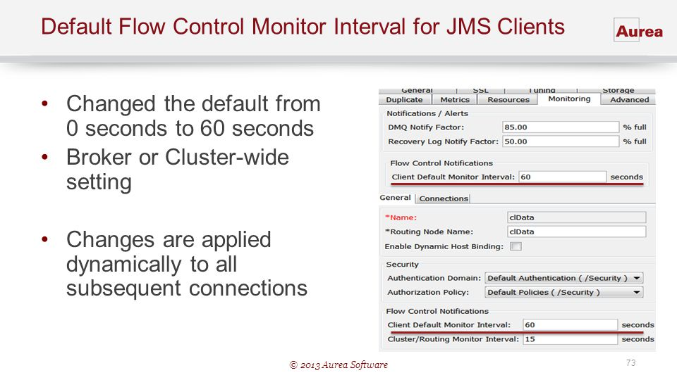 Default Flow Control Monitor Interval for JMS Clients