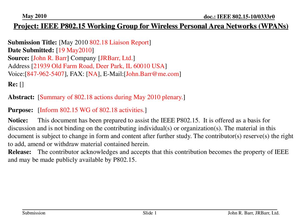 May 2010 doc.: IEEE /0333r0. May Project: IEEE P Working Group for Wireless Personal Area Networks (WPANs)