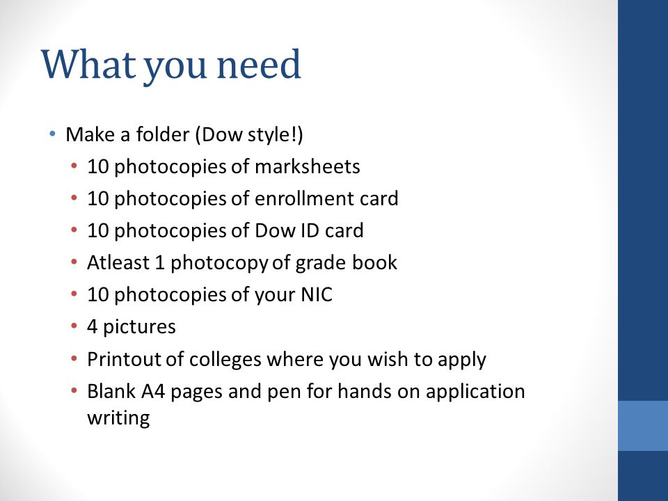 What you need Make a folder (Dow style!) 10 photocopies of marksheets