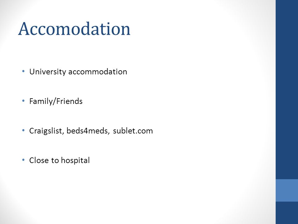 Accomodation University accommodation Family/Friends