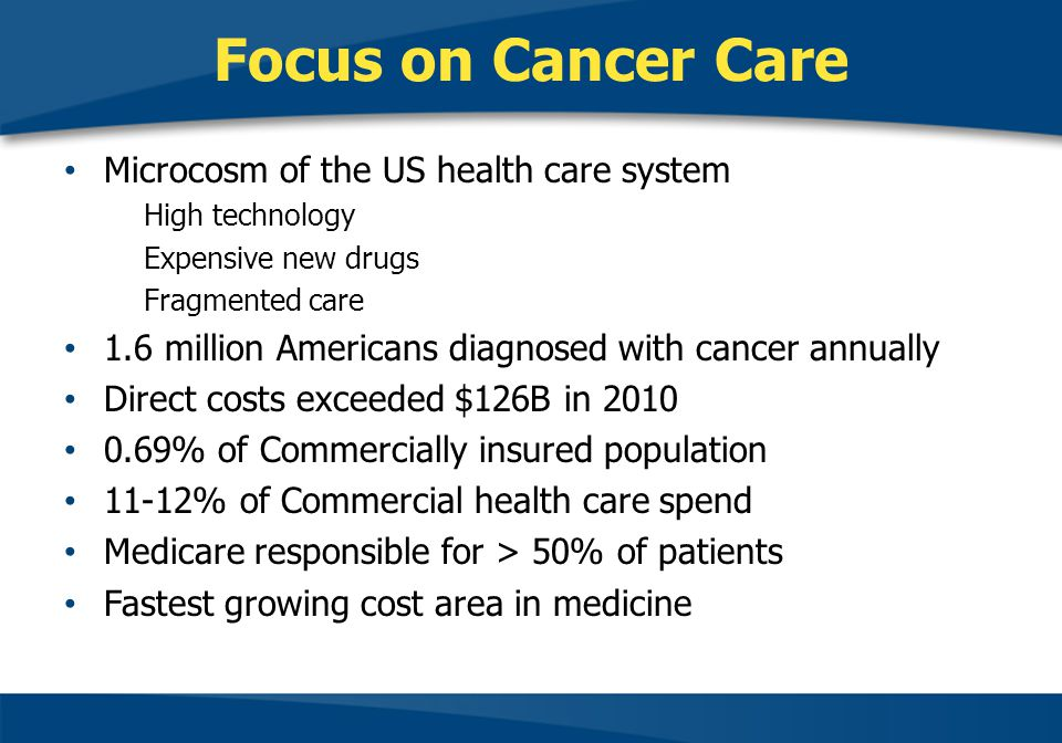 Focus on Cancer Care Microcosm of the US health care system