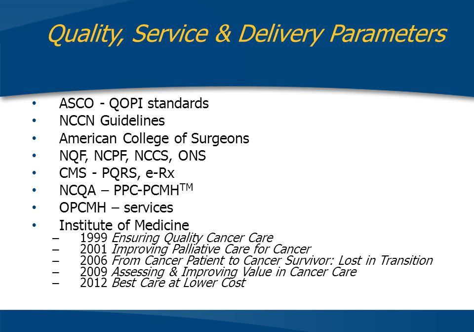 Quality, Service & Delivery Parameters