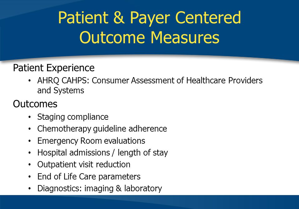 Patient & Payer Centered Outcome Measures