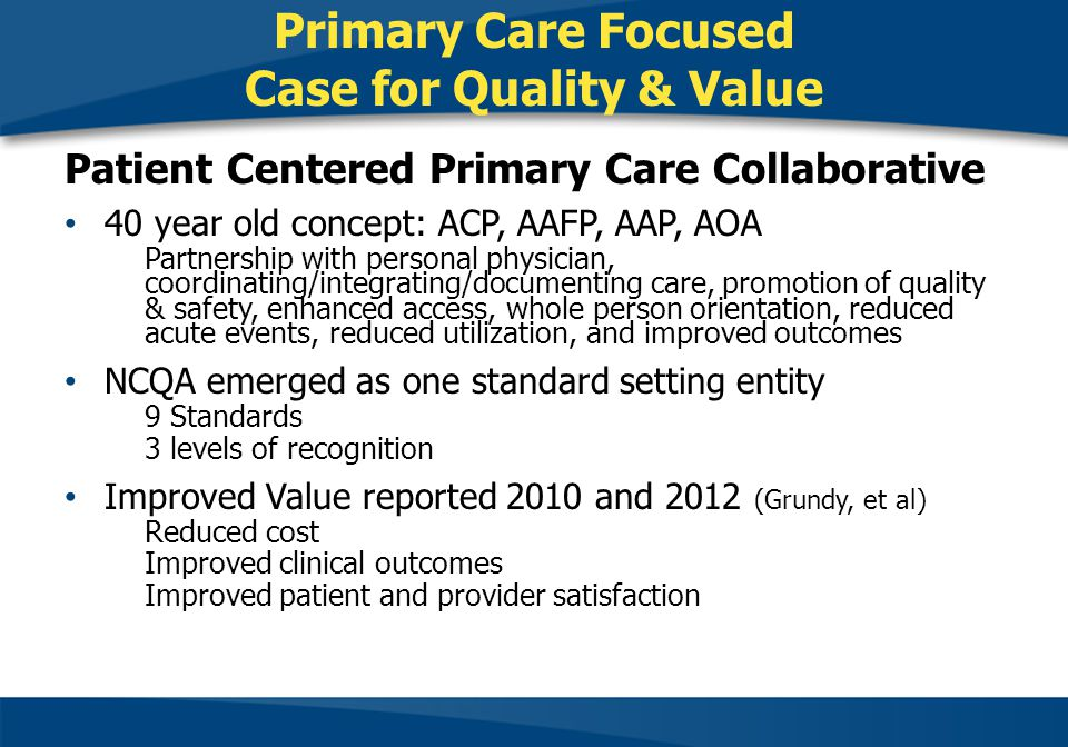 Primary Care Focused Case for Quality & Value